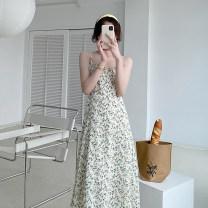 Dress Summer 2021 Lemon yellow S, M Mid length dress singleton  Sleeveless commute V-neck High waist Broken flowers other A-line skirt camisole Type A 21410W - LYQ51027H other