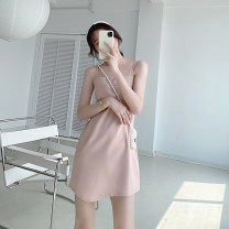 Dress Summer 2021 Pink Average size Short skirt singleton  Sleeveless commute V-neck High waist Solid color Socket A-line skirt camisole Type A 21413AL-LYQ414
