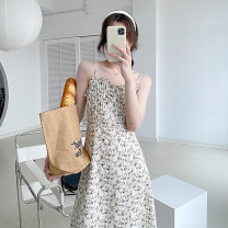 Dress Summer 2021 Prunus fragrans S, M Mid length dress singleton  Sleeveless commute V-neck High waist Broken flowers other A-line skirt camisole Type A 21410W-LYQ51027X other