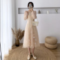 Dress Spring 2021 Apricot, pink S,M,L,XL Mid length dress Two piece set Long sleeves commute V-neck zipper puff sleeve Others Type A Other / other Gauze MYASP6808 other
