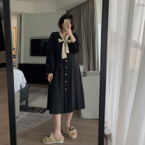 Dress Spring 2021 Black (second batch) M,L,XL,2XL,3XL Mid length dress singleton  Long sleeves Sweet V-neck Loose waist routine 25-29 years old Type H More than 95% polyester fiber