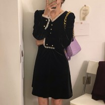 Dress Autumn 2020 black S M L XL Mid length dress singleton  Long sleeves commute V-neck High waist Solid color Socket A-line skirt other Others 18-24 years old Owo (clothing) Korean version C552 More than 95% other other Other 100% Pure e-commerce (online only)