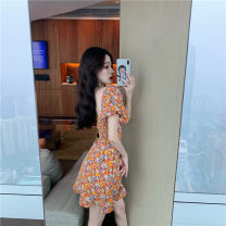 Women's large Summer 2020 orange Large L S M singleton  commute Short sleeve Korean version square neck other puff sleeve Meiqingfen 18-24 years old 96% and above Short skirt Triacetate fiber (triacetate fiber) 100% Exclusive payment of tmall
