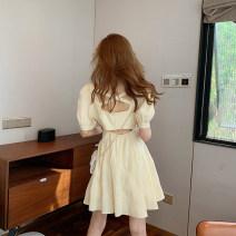 Women's large Summer 2021 Yellow short yellow long S M L XL singleton  Short sleeve V-neck puff sleeve Meiqingfen Other 100%