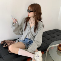 T-shirt grey S M L XL Summer 2020 Long sleeves Crew neck easy Regular routine commute other 96% and above 18-24 years old Korean version youth Solid color Gehan Meiyi ag7HLO Fold and open back Other 100.00% Pure e-commerce (online only)