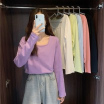 T-shirt Black white taro purple melon green Raspberry Pink Blue Average size Spring 2021 Long sleeves square neck easy Regular routine commute other 96% and above 18-24 years old Korean version youth Solid color Gehan Meiyi LhXUH Other 100.00% Exclusive payment of tmall