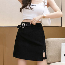 skirt Summer 2021 S M L XL black Short skirt Versatile High waist A-line skirt Solid color Type A 25-29 years old 91% (inclusive) - 95% (inclusive) Leisure trace other zipper New polyester 95% other 5% Pure e-commerce (online only)