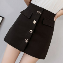 skirt Summer 2021 S M L XL Black and white Short skirt commute High waist A-line skirt Solid color Type A 25-29 years old XH9935#32 91% (inclusive) - 95% (inclusive) Leisure trace other Button Korean version New polyester 95% other 5% Pure e-commerce (online only)