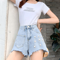 Jeans Summer 2021 Light denim S M L XL 2XL 3XL 4XL 5XL shorts High waist Wide legged trousers routine 18-24 years old washing light colour XH9009#40 Leisure trace New polyester 95% other 5% Pure e-commerce (online only)