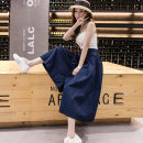 skirt Autumn of 2019 Average size (85-140 kg) Mid length dress commute High waist A-line skirt Solid color Type A 25-29 years old Leisure trace Korean version Pure e-commerce (online only)
