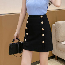 skirt Summer 2021 S M L XL black Short skirt commute High waist A-line skirt Solid color Type A 25-29 years old XH6739 # thirty 91% (inclusive) - 95% (inclusive) Leisure trace other Button Korean version New polyester 95% other 5% Pure e-commerce (online only)