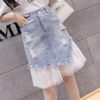skirt Summer 2021 S M L XL 2XL 3XL 4XL 5XL Light denim Short skirt Versatile High waist Denim skirt Solid color Type A 18-24 years old 91% (inclusive) - 95% (inclusive) Denim Leisure trace other hole New polyester 95% other 5% Pure e-commerce (online only)