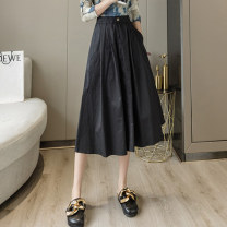 skirt Summer 2021 S M L XL Black and white longuette Versatile High waist A-line skirt Solid color Type A 25-29 years old XH203#305 91% (inclusive) - 95% (inclusive) Leisure trace other pocket New polyester 95% other 5% Pure e-commerce (online only)