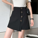 skirt Spring 2021 S M L XL Black yellow Short skirt commute High waist A-line skirt Solid color Type A 25-29 years old 91% (inclusive) - 95% (inclusive) Leisure trace other Button Korean version New polyester 95% other 5% Pure e-commerce (online only)