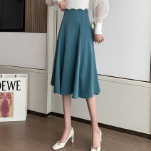 skirt Spring 2021 S M L XL Black Lake Blue longuette commute High waist A-line skirt Solid color Type A 25-29 years old XH9076#40 91% (inclusive) - 95% (inclusive) Leisure trace other zipper Korean version New polyester 95% other 5% Pure e-commerce (online only)