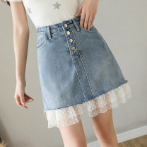 skirt Spring 2021 S M L XL 2XL Denim blue Short skirt fresh High waist Splicing style Solid color Type A 25-29 years old XH6660#36 91% (inclusive) - 95% (inclusive) Leisure trace other New polyester 95% other 5% Pure e-commerce (online only)