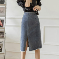 skirt Summer 2021 S M L XL longuette Versatile High waist A-line skirt Solid color Type A 25-29 years old 91% (inclusive) - 95% (inclusive) Denim Leisure trace other pocket New polyester 95% other 5% Pure e-commerce (online only)