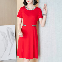 Women's large Summer 2021 Red and black L (about 115-125 kg) XL (about 125-140 kg) 2XL (about 140-155 kg) 3XL (about 155-170 kg) 4XL (about 170-185 kg) 5XL (about 185-200 kg) Dress singleton  commute easy thin Socket Short sleeve Solid color Simplicity Crew neck Medium length nylon routine NN5128