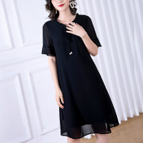 Women's large Summer 2020 black L (about 115-125 kg) XL (about 125-140 kg) 2XL (about 140-155 kg) 3XL (about 155-170 kg) 4XL (about 170-185 kg) 5XL (about 185-205 kg) 6xl (about 205-220 kg) Dress singleton  commute thin Socket Short sleeve Solid color Simplicity other polyester Lotus leaf sleeve