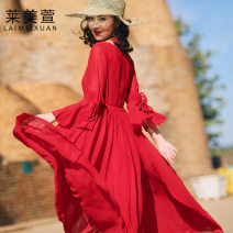 Dress Summer 2020 Scarlet Cape + skirt 3XL S M L XL XXL longuette singleton  three quarter sleeve commute V-neck High waist Solid color Socket Big swing pagoda sleeve 25-29 years old Type X Lai meixuan ethnic style Bowknot stitching strap button L2005b More than 95% Chiffon polyester fiber