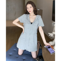 T-shirt Grey black S M L XL XXL Summer 2021 Short sleeve Hood Straight cylinder Medium length routine other 96% and above Liu WanFei 3001* Other 100% Pure e-commerce (online only)