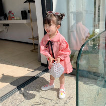 Dress Pink female Fall in love with pretty girl 80cm,90cm,100cm,110cm,120cm,130cm,140cm,150cm Other 100% spring and autumn Sweet Long sleeves Solid color other A-line skirt 12 months, 2 years old, 3 years old, 4 years old, 5 years old, 6 years old, 7 years old Chinese Mainland