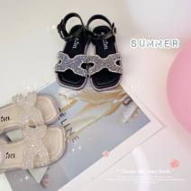 Sandals Other / other female Super fiber synthetic leather Black, apricot summer Barefoot Antiskid rubber Velcro children rhinestone nothing