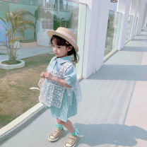 suit Fall in love with pretty girl Plaid skirt 80cm,90cm,100cm,110cm,120cm,130cm,140cm female summer fresh Sleeveless + skirt 2 pieces Thin money There are models in the real shooting Single breasted nothing lattice cotton children Travel Other 100% 7, 6, 5, 4, 3, 2, 12 months Chinese Mainland