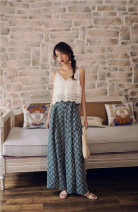 Casual pants Coffee color lattice, apricot leaves, green leaves S,M,L,XL Summer of 2019 trousers Wide leg pants High waist Thin money Other / other