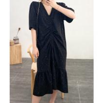 Dress Summer 2020 black Large size Mid length dress singleton  Short sleeve Sweet V-neck Loose waist Solid color routine Type H Feldan cotton
