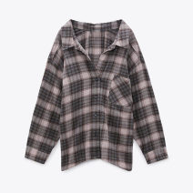 shirt Sand color XS,S,M,L Winter 2020 other 81% (inclusive) - 90% (inclusive) Long sleeves Versatile Regular Polo collar Single row multi button routine lattice 25-29 years old Straight cylinder Button