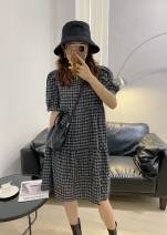 Dress Spring 2021 black Average size Middle-skirt singleton  Short sleeve commute Crew neck Loose waist lattice Socket A-line skirt routine Others 30-34 years old Type A literature Pleating , Literary lattice N935 plaid skirt 81% (inclusive) - 90% (inclusive) brocade cotton