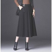 skirt Spring 2020 27 / M 2 feet, 29 / XL 2 feet 2 feet 2 feet 2 feet 3, 30 / 2XL 2 feet 3, 31 / 3XL 2 feet 4, 32 / 4XL 2 feet 5 black longuette commute High waist A-line skirt Solid color Type A 468e Wool polyester fiber Korean version
