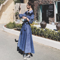 Dress Spring 2021 blue S,M,L,XL longuette singleton  Long sleeves commute Polo collar High waist Solid color Single breasted A-line skirt routine 25-29 years old Type A CICI LADY Korean version Pocket, lace up, stitching, strap, button 31% (inclusive) - 50% (inclusive) polyester fiber