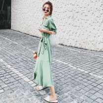 Dress Summer 2021 Green, shrimp meal S,M,L Mid length dress singleton  Short sleeve commute V-neck High waist Solid color Socket A-line skirt routine Type A CICI LADY Korean version 81% (inclusive) - 90% (inclusive) Chiffon polyester fiber