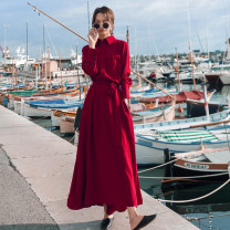 Dress Spring 2021 gules S,M,L,XL Mid length dress singleton  Long sleeves commute Polo collar High waist Solid color Single breasted A-line skirt shirt sleeve Type A CICI LADY Korean version Pocket, lace up, button 81% (inclusive) - 90% (inclusive) Chiffon Cellulose acetate