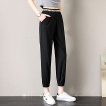 Casual pants White, black 2/S,3/M,4/L,5/XL Summer 2021 Ninth pants Haren pants High waist Versatile Thin money 81% (inclusive) - 90% (inclusive) five million one hundred and six thousand six hundred and eighty-eight - two million sixty-four thousand and eleven - 001 Brother amashsin pocket nylon