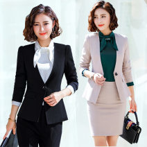 Professional dress suit S,XL,L,M,XXL,XXXL,XXXXL Spring of 2019 Long sleeves Shirt, coat Suit skirt 25-35 years old cotton