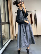 Dress Autumn 2020 Blue, black and gray Average size Sleeveless commute V-neck Loose waist Solid color Socket Type A Other / other literature fold More than 95% Denim cotton