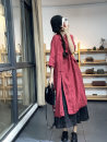 Dress Summer 2021 Black, red Average size Mid length dress singleton  three quarter sleeve commute Polo collar Loose waist Solid color Socket A-line skirt routine straps Type A Retro pocket SN68085 More than 95% other hemp