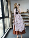 Dress Summer 2021 Green, pink Average size Mid length dress singleton  elbow sleeve commute V-neck Loose waist Decor Socket A-line skirt routine Others Type A Retro printing U2290 More than 95% other hemp