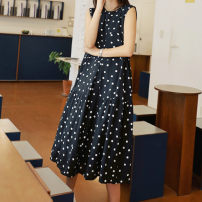 Dress Spring of 2019 Black dots S M L XL Middle-skirt singleton  Sleeveless commute Crew neck middle-waisted Dot Socket Big swing other Others 25-29 years old Sunani Korean version Sleeveless Polka Dot Dress More than 95% Chiffon other Other 100% Pure e-commerce (online only)