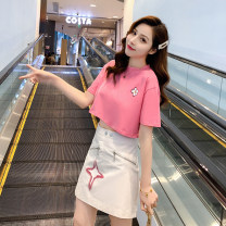 Fashion suit Summer 2021 S,M,L,XL Pink top and white skirt 18-25 years old Adio Spot 20935 51% (inclusive) - 70% (inclusive) cotton