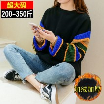 Sweater / sweater Spring 2020 Black, black style 2 4XL (for 200-230 kg), 5XL (for 240-270 kg), 6xl (for 280-320 kg), 7XL (for 320-350 kg) Long sleeves routine Socket singleton  thickening Crew neck easy commute other stripe 25-29 years old 81% (inclusive) - 90% (inclusive) Korean version cotton