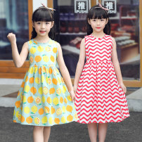 Dress Lemon, light blue broken flower, red horizontal bar, red vertical bar, green broken flower, white green flower, yellow mango, rose red butterfly, color sunflower female Other / other Cotton 100% summer leisure time Broken flowers cotton A-line skirt Class B Chinese Mainland Zhejiang Province