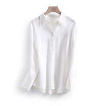 shirt white S,M,L Spring 2021 polyester fiber 96% and above Long sleeves commute Regular Polo collar Single row multi button routine Solid color 25-29 years old Other / other Korean version