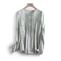 Lace / Chiffon Spring 2021 Green, off white S,M,L,XL Long sleeves commute Socket singleton  Straight cylinder Regular Crew neck other 25-29 years old Other / other Korean version 96% and above