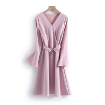 Dress Spring 2021 Pink M,XL longuette singleton  Long sleeves commute middle-waisted Solid color Socket routine Others 25-29 years old Other / other Korean version More than 95% polyester fiber