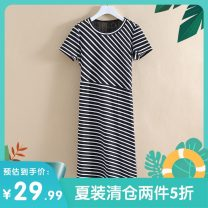 Dress Summer 2020 Black and white stripe, red and white stripe XS,S,M,L,XL Mid length dress singleton  Short sleeve commute Crew neck middle-waisted stripe Socket other routine Others 25-29 years old Other / other Korean version Y2815048 More than 95% cotton