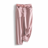 Jeans Spring 2021 Pink S,M,L trousers Natural waist Straight pants routine 25-29 years old other Dark color LKK35491 Other / other